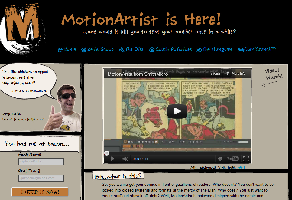 A screen shot from the Motion Artist website
