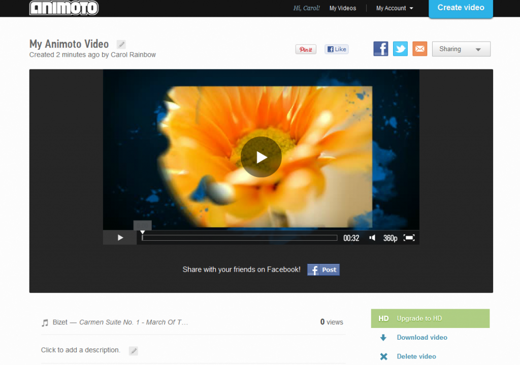 My Animoto video image