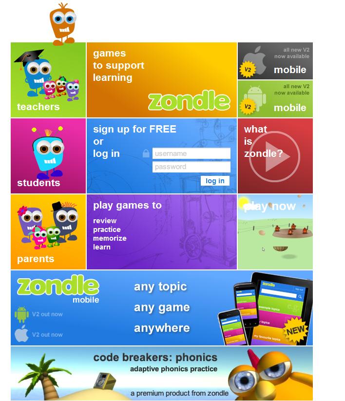 The Zondle web site