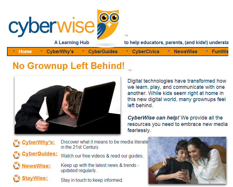 The Cyberwise opening screen