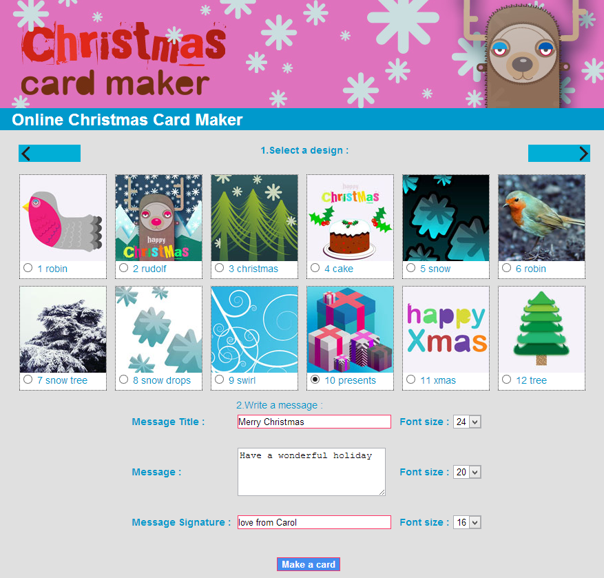free printable christmas card maker
