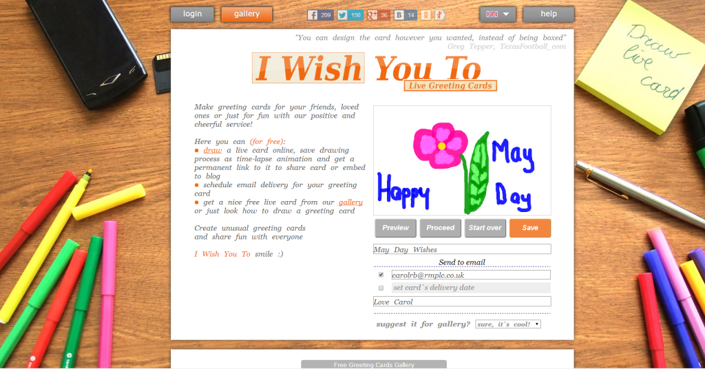 I wish to you live greeting card maker