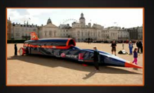 A picture of a rocket car