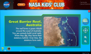 Nasa Kids' Club web page