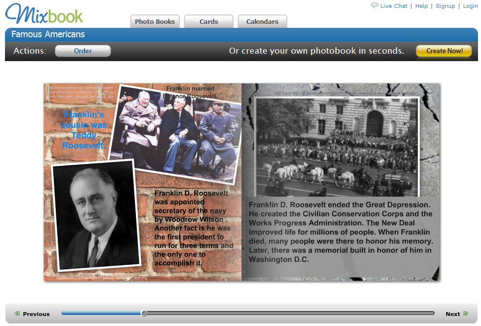 The Mixbook web page image