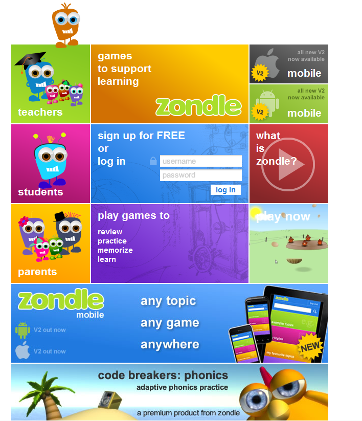 The Zondle web site