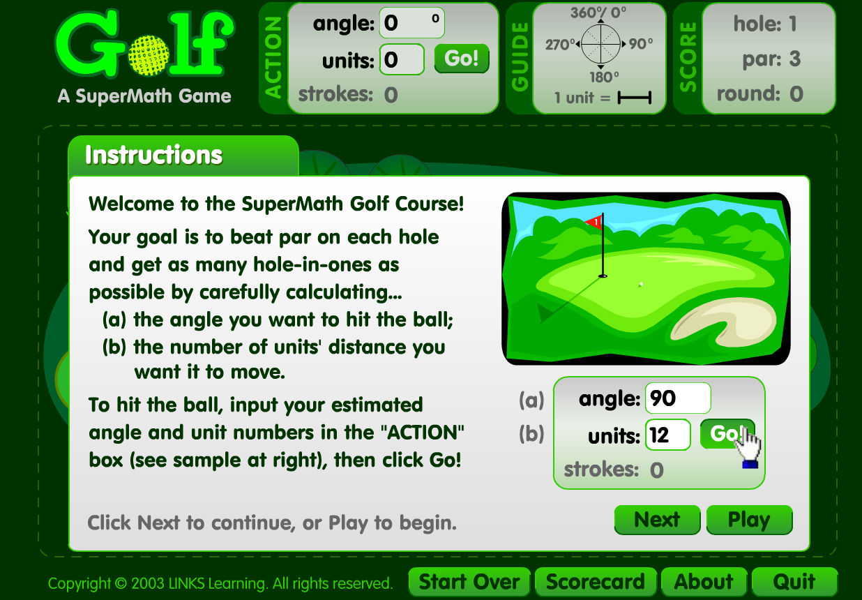 super maths golf game