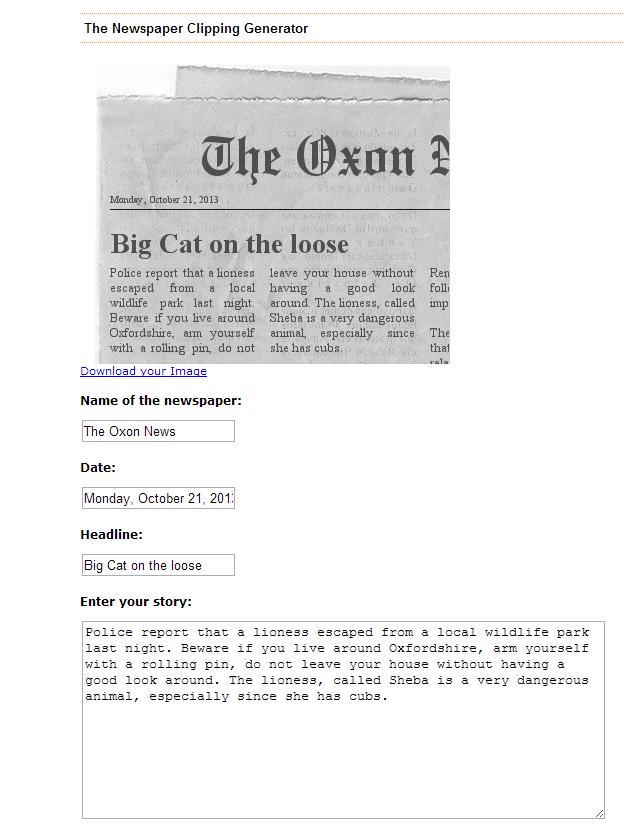 Newspaper Clipping Generator
