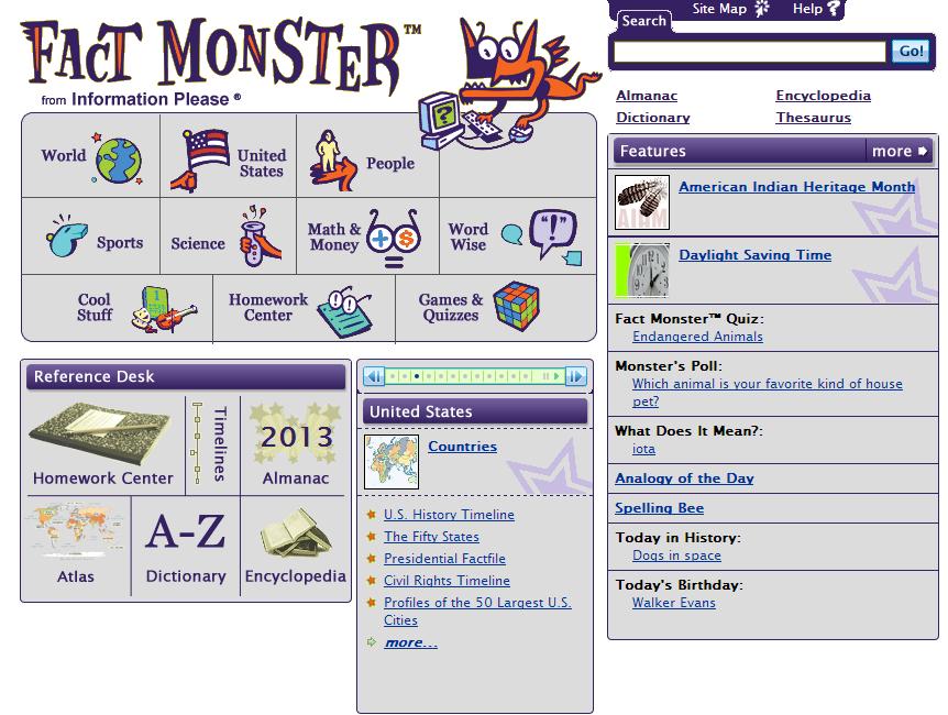 The Fact Monster Website