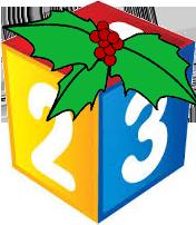 Chritmas 123 cube with holly