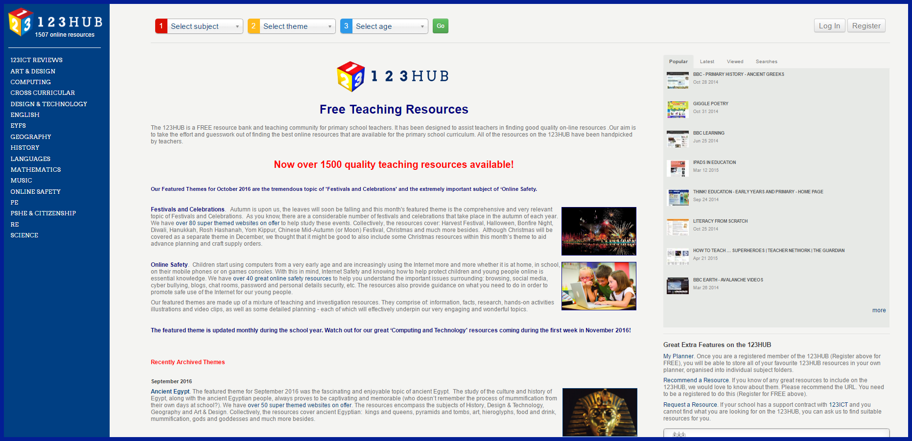 Teaching resources: 123HUB October News